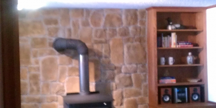 Fireplace with Stone Background