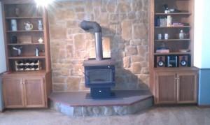 fireplace platform and backing