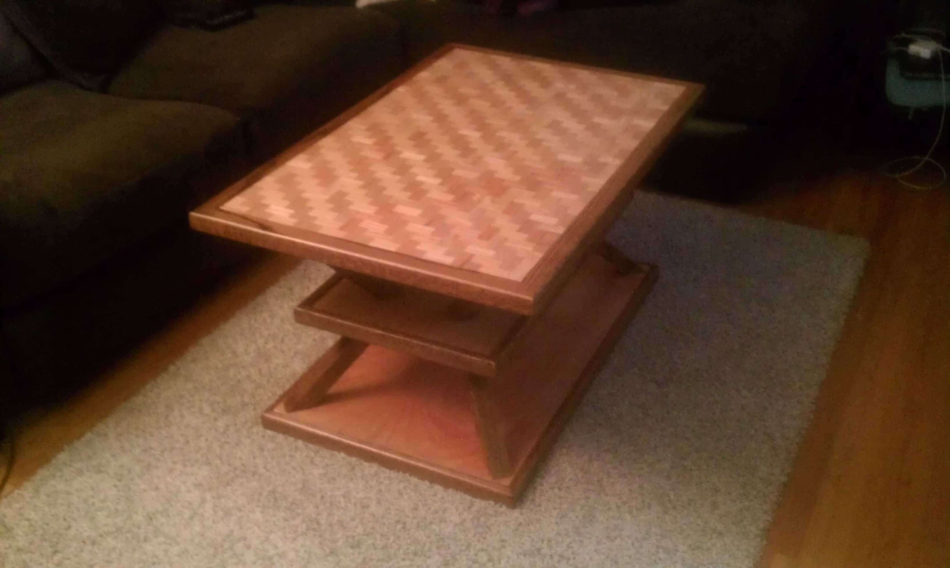 Custom Made Coffee Table With A Parquet Top And Base